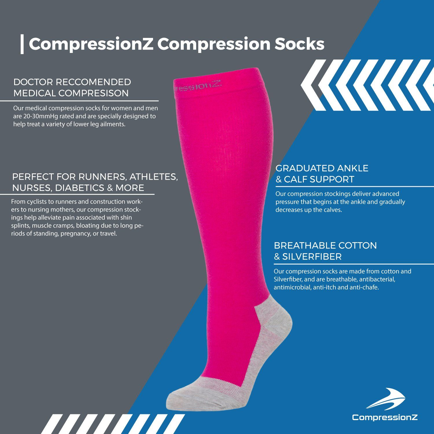 8ccc2115b pregnancy workout - CompressionZ Compression Socks for Men Women 2030 mmHg  Best Athletic/Medical Socks for Nurse Running Maternity Travel Diabetic  Varicose ...