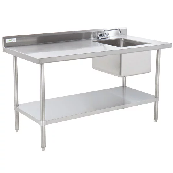 Sink On Right Regency 30 X 48 16 Gauge Stainless Steel Work Table With Sink Stainless Steel Work Table Stainless Steel Prep Table Stainless Steel Shelving