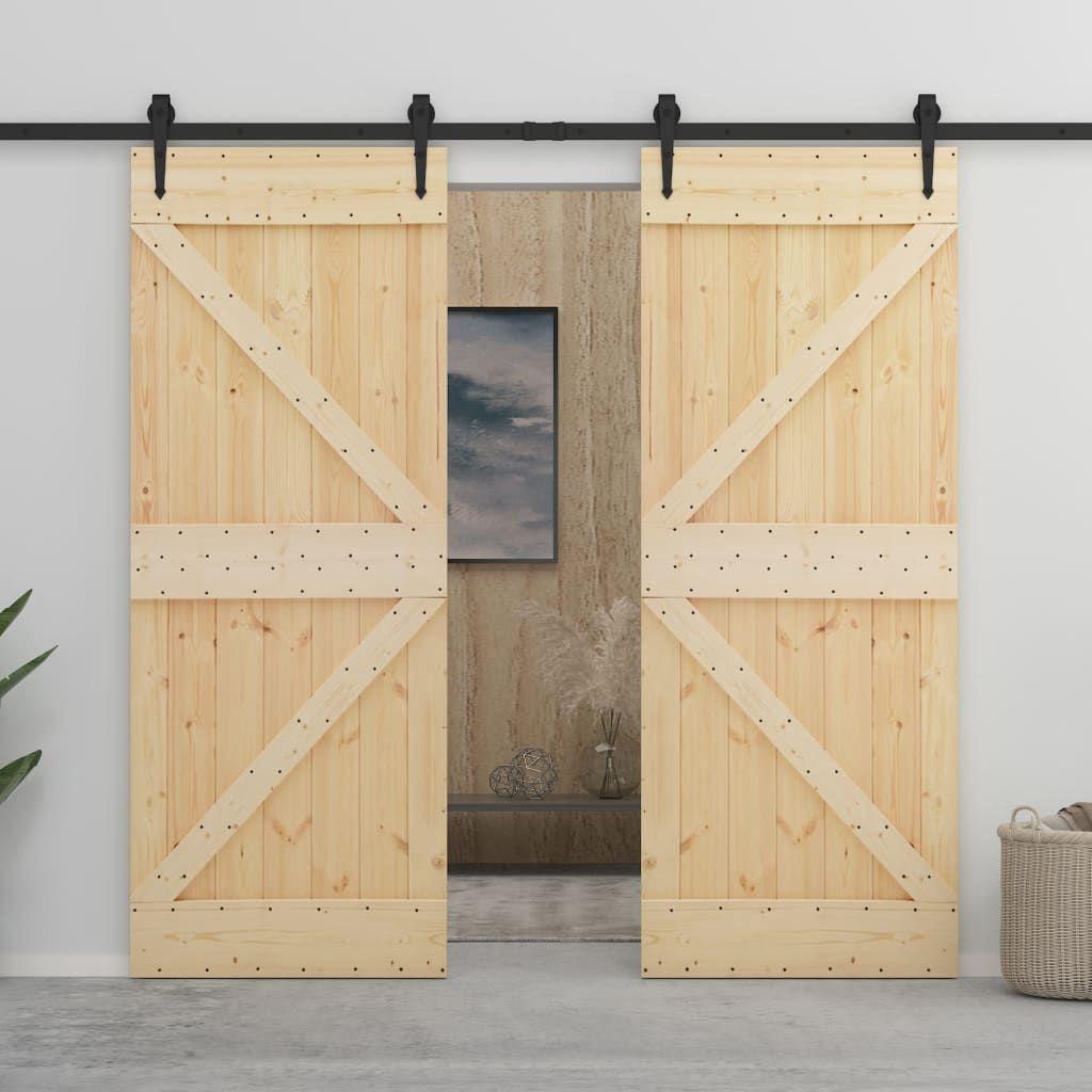 vidaXL Sliding Door with Mechanism 90 x 210 cm. Solid Wood …