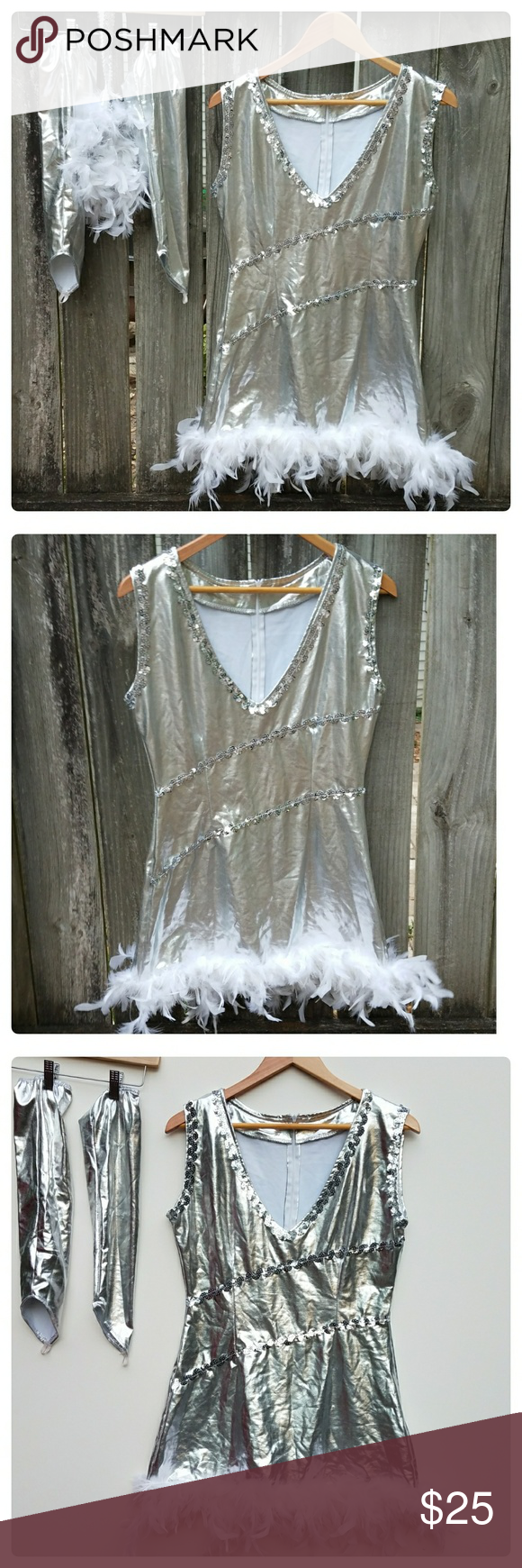 """Halloween Costume Flapper Girl Great pre-owned condition. Comes with dress, elastic sequin and feather headband and fingerless gloves that go up to elbow. Approximate measurements laying flat: length 30"""", bust 18"""", waist15"""". Zips up in back. Dresses Mini"""