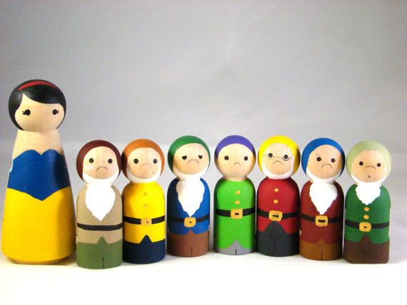 Ms White n Her Seven Little Men - Hand Painted Wooden Snow White and Seven Dwarf Peg Dolls
