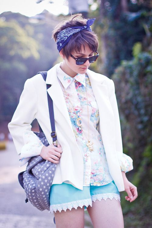 Short hair with a blue scarf. So cute! I should try this sometime. :)