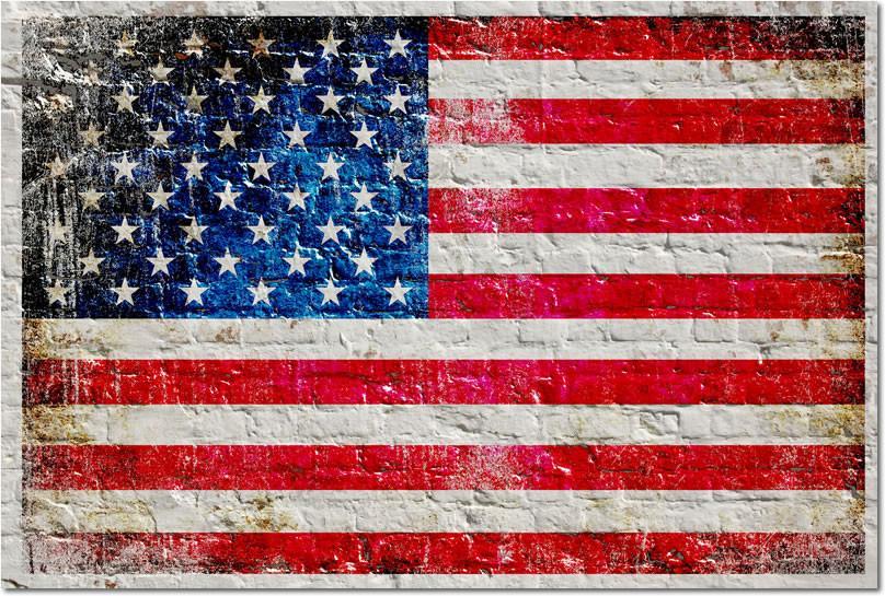 Distressed American Flag On White Brick Wall Horizontal Small Metal Plate Metal American Flag American Flag Painting White Brick