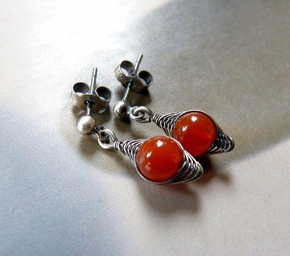 Carnelian Sterling silver earrings dangle earrings by Mirma