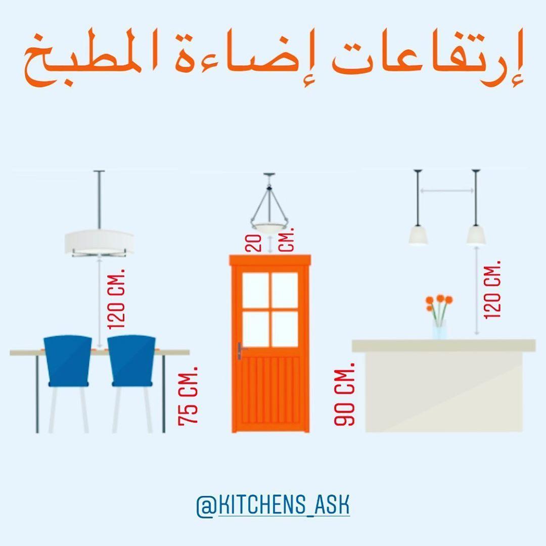 أسرار تصميم المطبخ S Instagram Post يتراوح إرتفاع الإضاءة المعلقة عن مستوى سطح العمل أو مستوى طاولة الطعام في Kitchen Cabinets Models Home Engineering Design