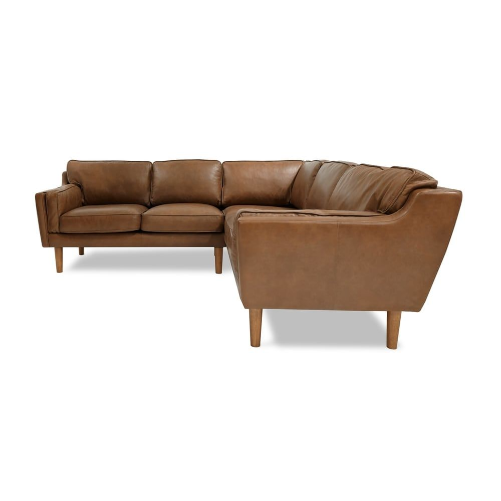 Beatnik Leather Sectional In Oxford Tan  Overstockcom Shopping  The Best  Deals On Sofas Tan Leather Sectional78