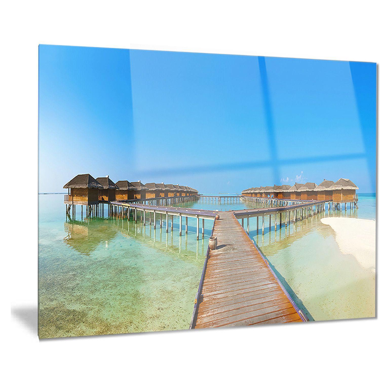 Designart 'Bungalows in Maldives Island' Landscape Photo