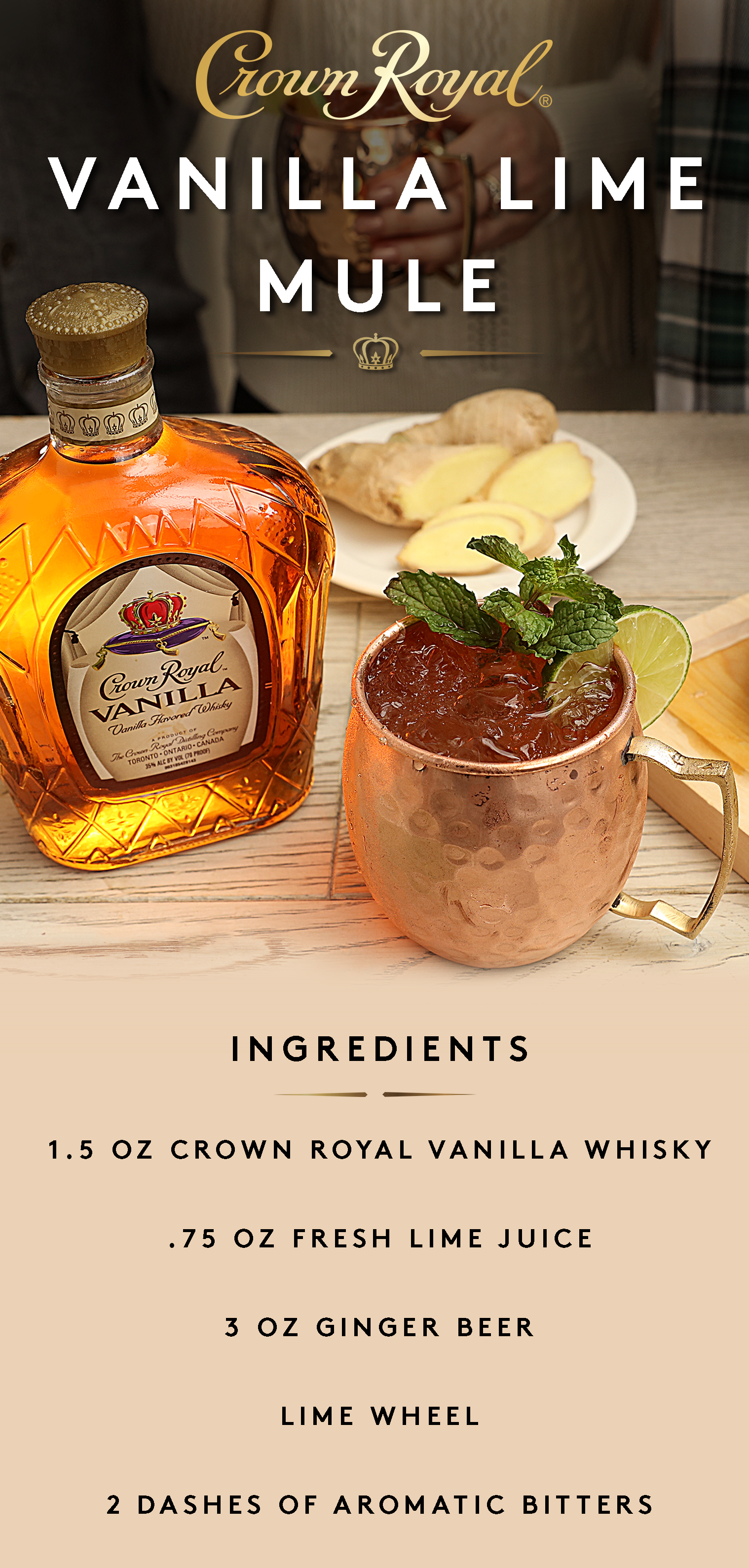 Vanilla lime mule pinterest mule recipe aromatic bitters and this simple seasonal mule recipe is perfect for any fall weekend combine 15 oz crown royal vanilla flavored whisky and 75 oz lime juice in a shaker with forumfinder Image collections