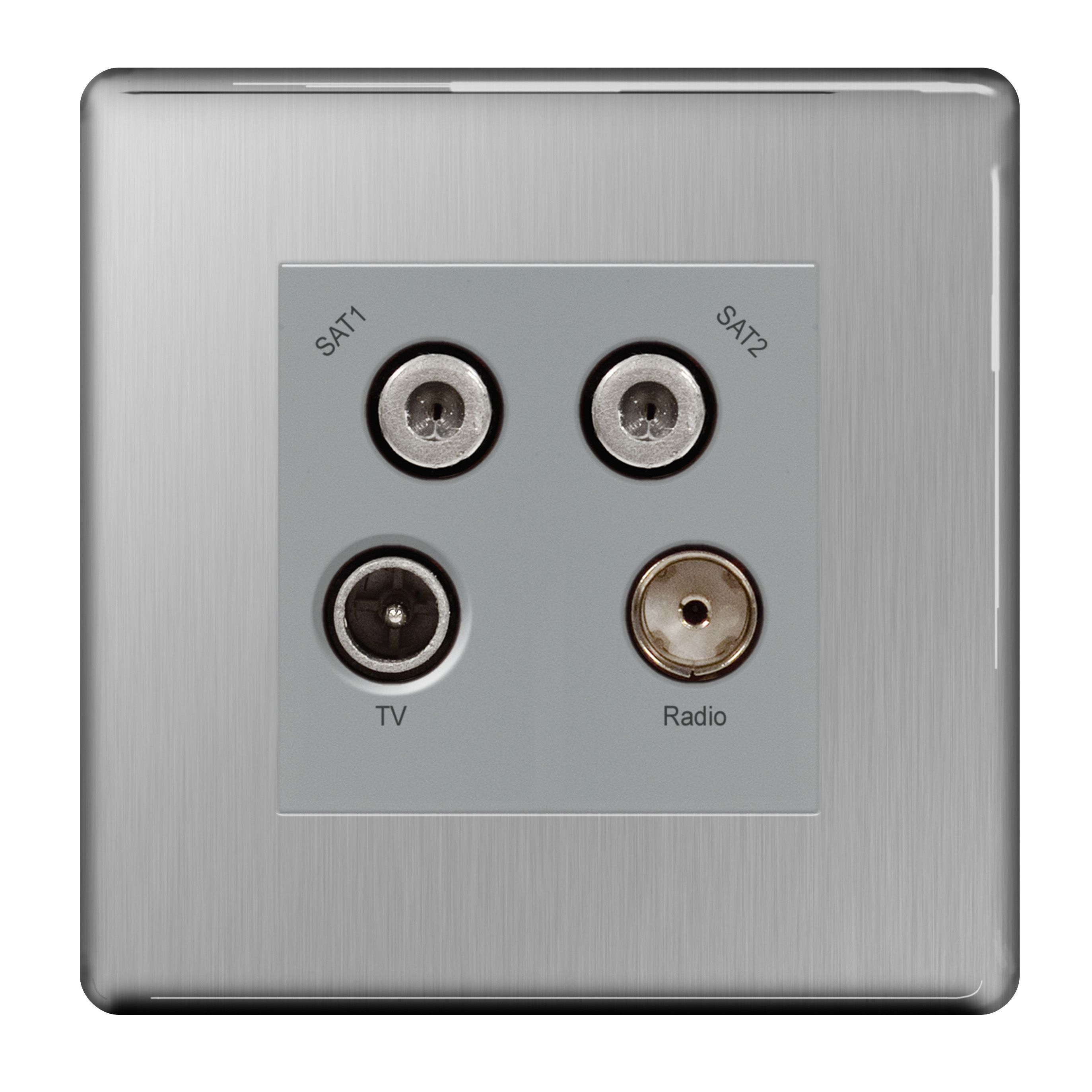 Colours Brushed Steel Coaxial Satellite Socket Departments Diy