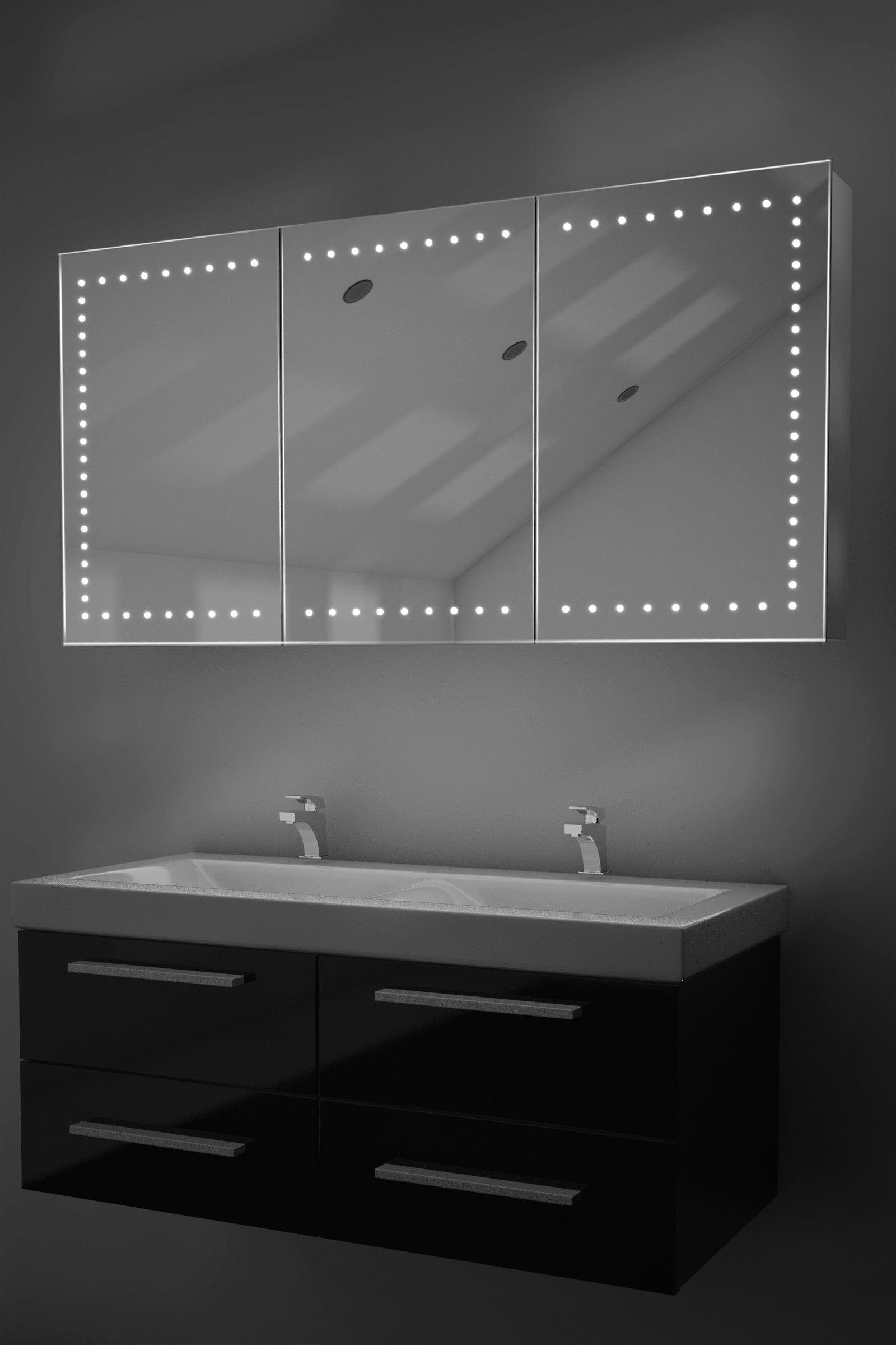 Spiegelschrank 120 Cm Integrierte Led Beleuchtung Doppelt Verspiegelt