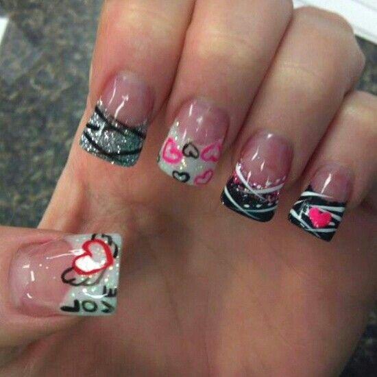 Black White Designed Nails Nails Pinterest Black Manicure