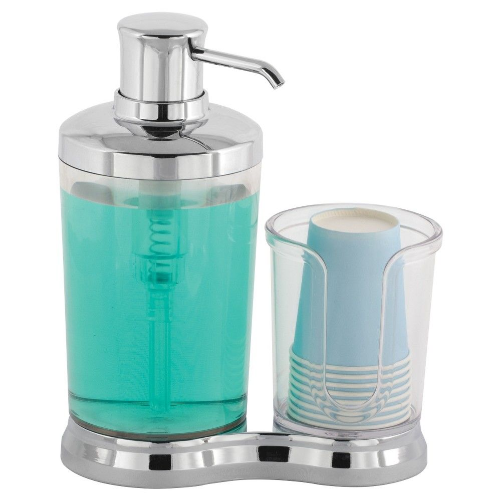 InterDesign Gina Mouthwash Caddy - Clear/Chrome, Grey/Clear | Home ...