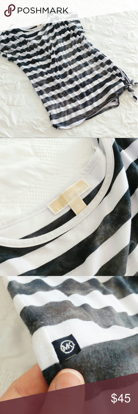 Michael Kors Top White and black shibori stripes with a tie side.  This is a small but it is meant to be very oversized and flowy. Michael Kors Tops Tees - Short Sleeve