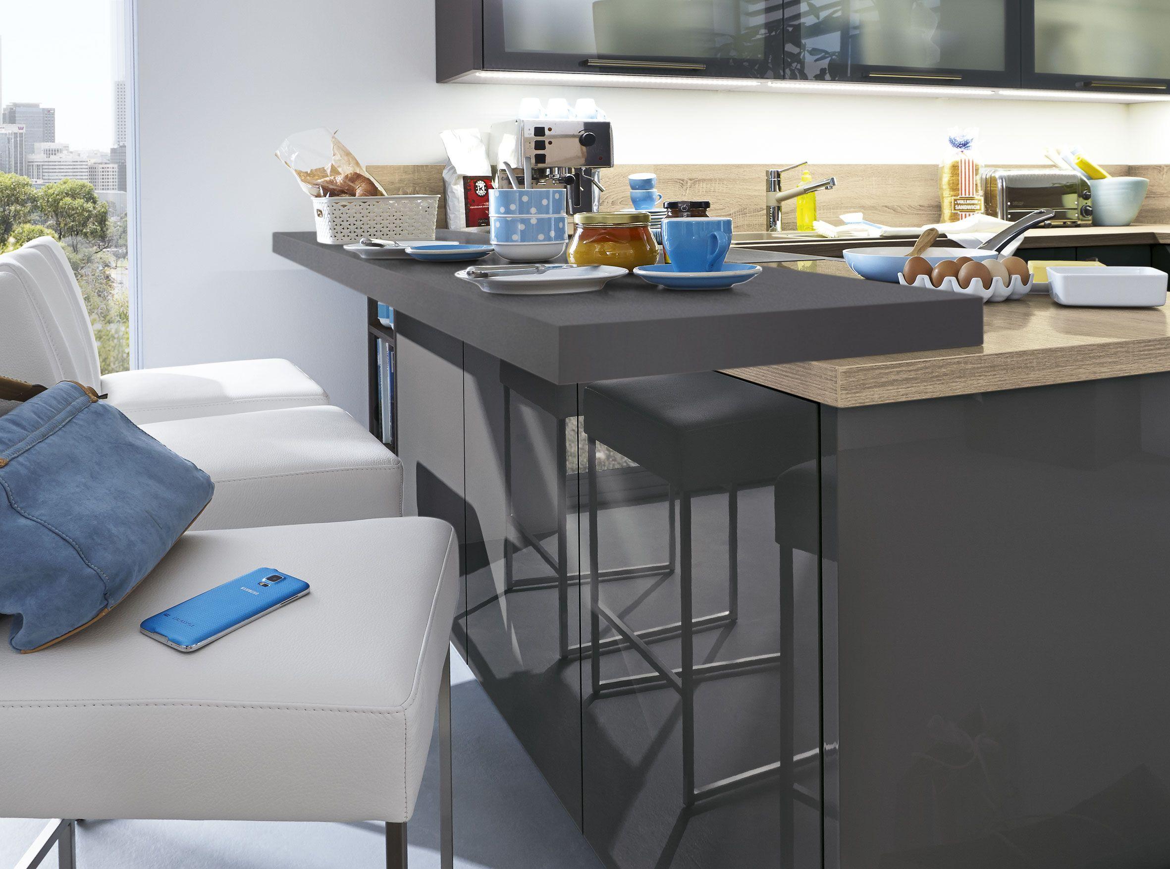 kücheninsel musterring stella2400 einbauküche grau hochglanz ...