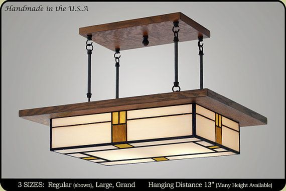 Dining Room Light Fixture Mission Style Vintage Style Glass