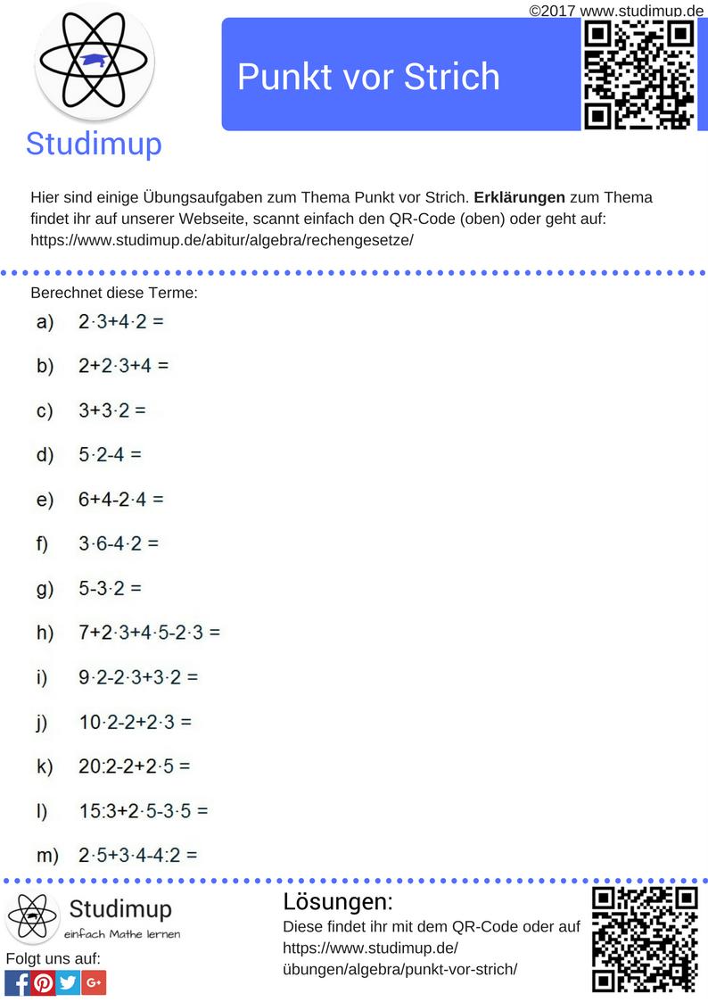 Übungsaufgaben zur Punkt vor Strich Regel in Mathe. Einfach Mathe ...