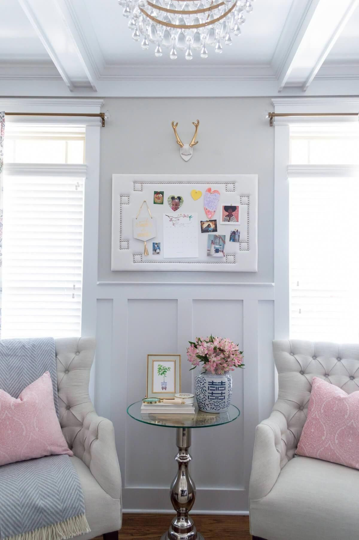 Chic and feminine home office with farmhouse trestle table