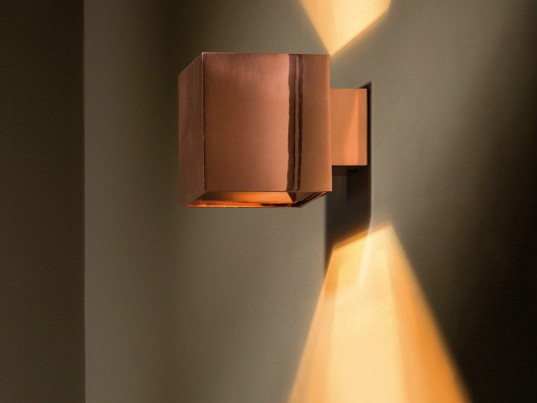 Direct indirect light wall light dartling up down copper for Appliques murales bois