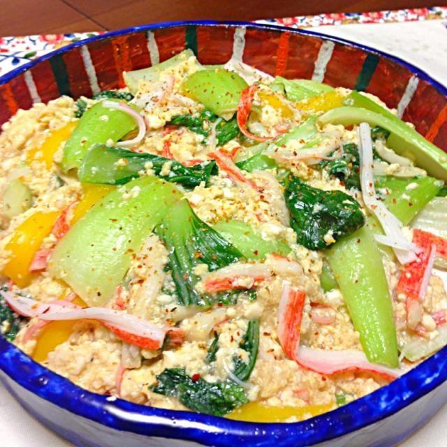TOMOKOさん〜(>Д<)ゝ 教わった通り、青梗菜で作ってみましたっ❤ 身体に優しい味でほんわか〜꒰ •ॢ  ̫ -ॢ๑꒱ 片栗粉のトロミ付けが苦手なので、トモコさんみたいにトロリン〜ってならなかった でも美味です〜❤ありがと〜ございました〜(人∀≦+)) - 134件のもぐもぐ - TOMOKOさんの❤玉子豆腐とカニカマ使って簡単うまうまあんかけ冬瓜♥の青梗菜バージョン♬ by takaram