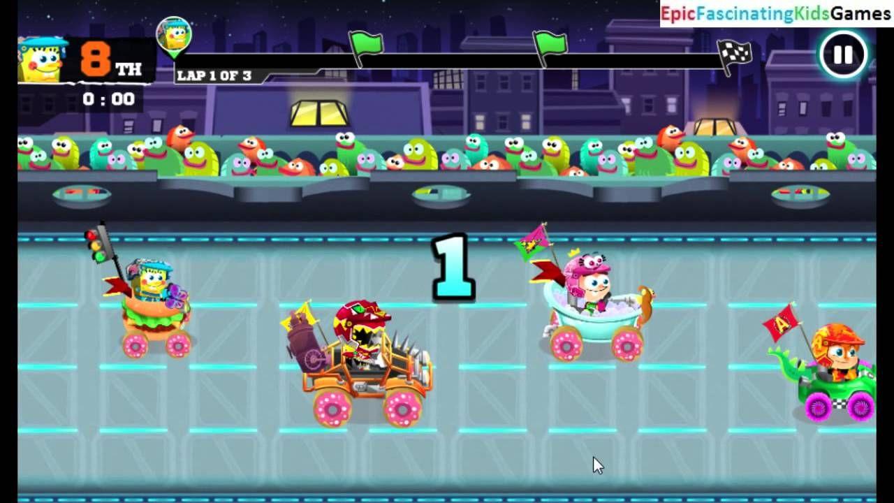 Nick Racing Stars Grand Prix Mode Ice Cream Kitty Cup Walkthrough As Spongebob Squarepants