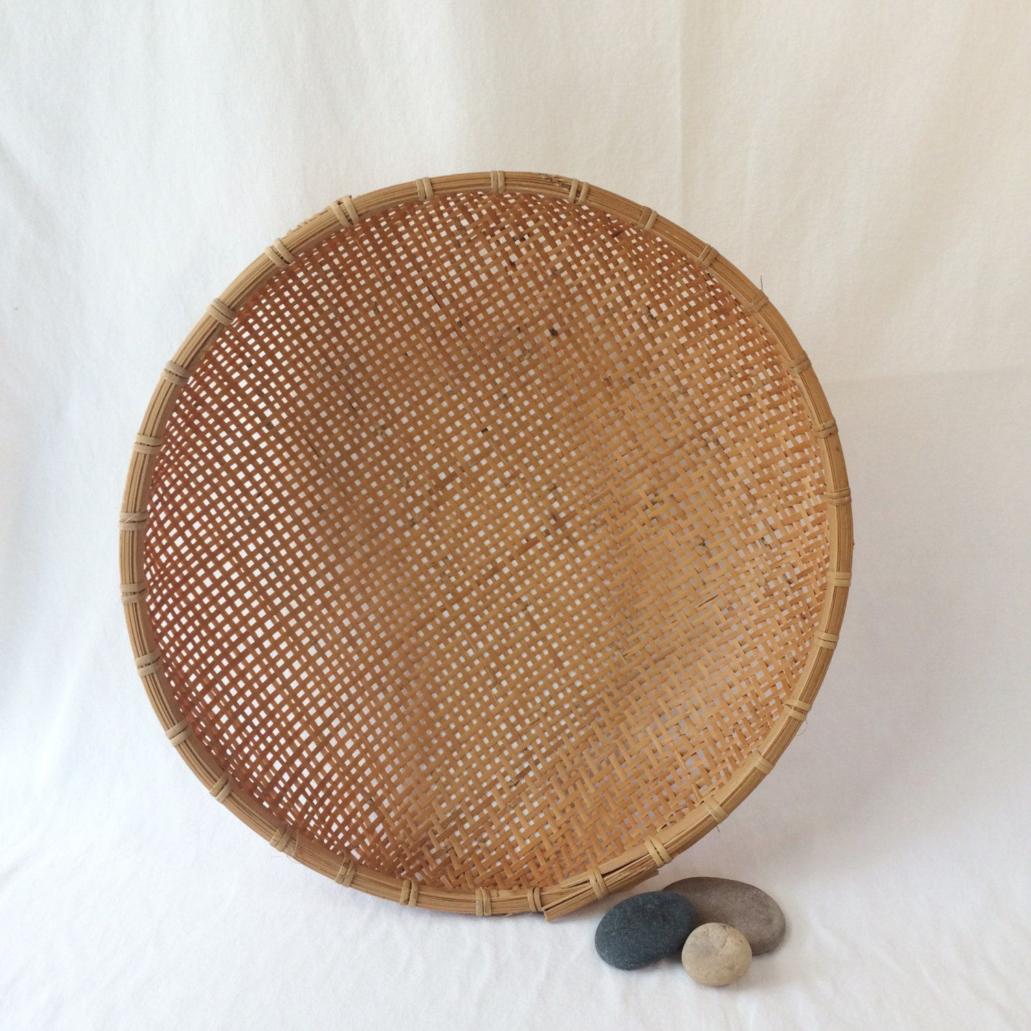 Vintage Round Rattan Basket, Large Wall Basket, Large