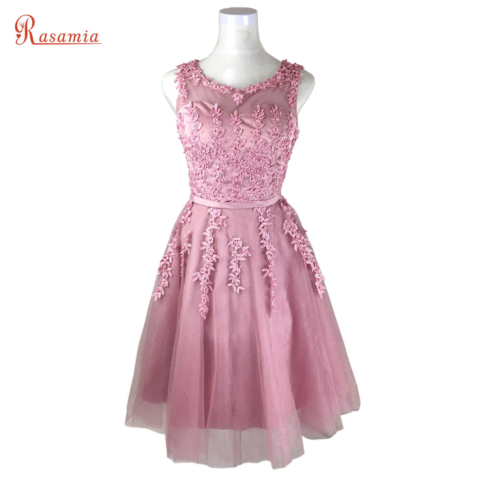 Click to Buy << Women Pink Prom Dresses Short Lace Gown Dark Red ...