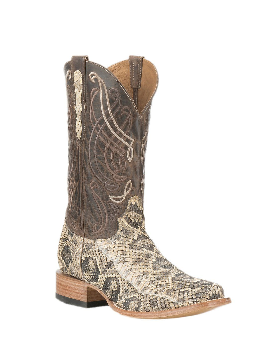 43c10566076 Old Gringo Men s Natural Snake Skin with Brown Goat Upper Exotic Square Toe  Boots