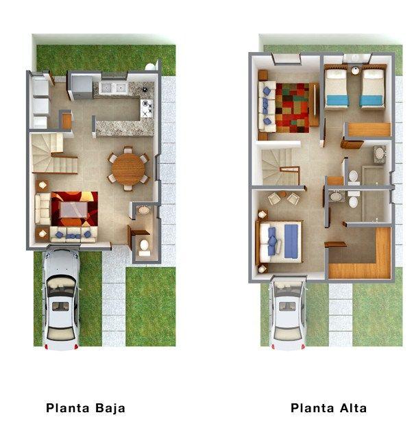 Planos de duplex economicos planos casa pinterest - Modelos de casas de dos pisos ...