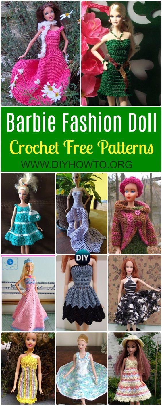 Crochet Barbie Fashion Doll Clothes Outfits Free Patterns | Muñecas ...