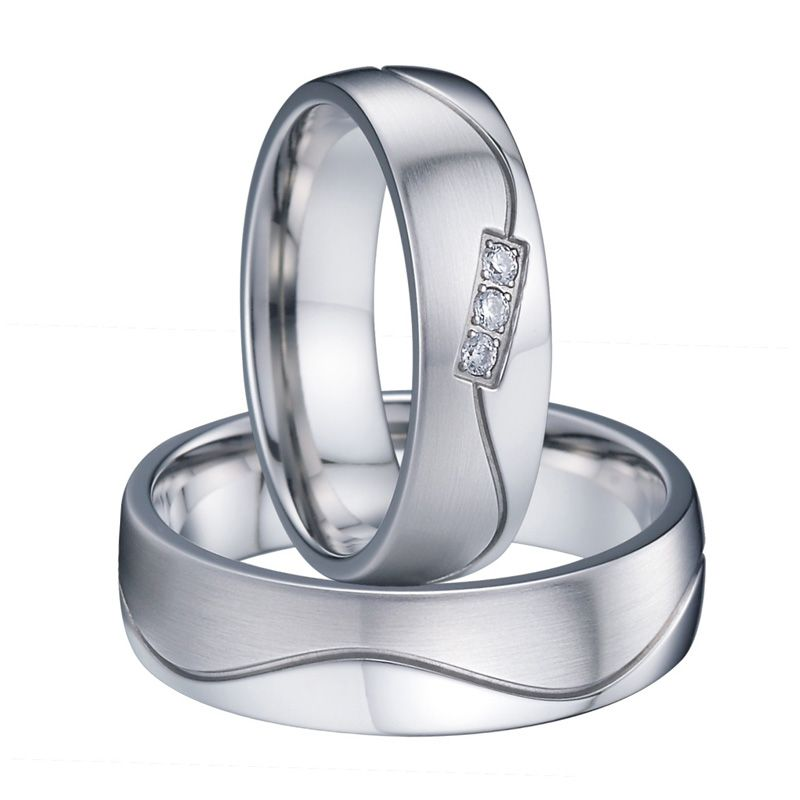 unique white gold color titanium love wedding band couple rings pair handmade men and women jewelry anillos