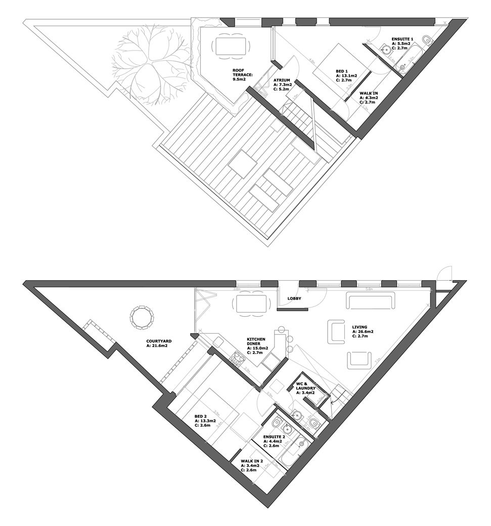 Palmwood house london undercurrent architects 00 for Triangular house floor plans