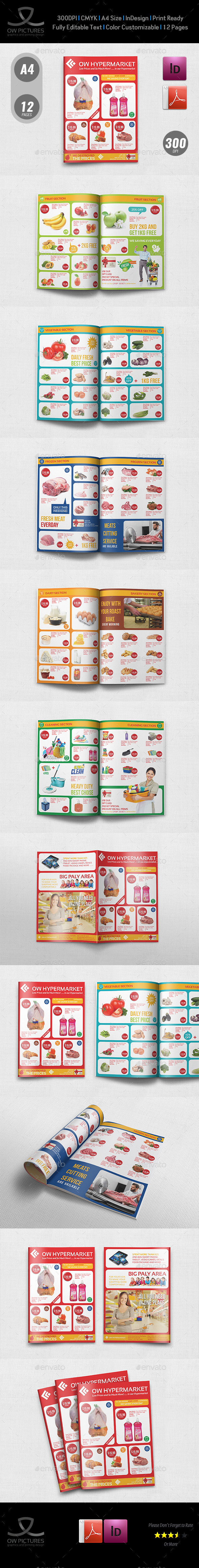 supermarket catalog brochure template vol 4 12 pages indesign indd
