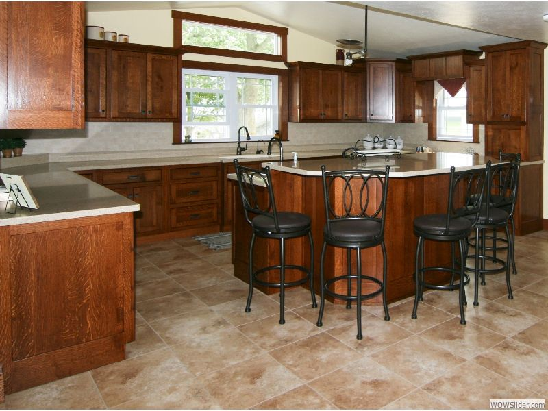 American Oak Colored Hickory Kitchen Amish Cabinets Custom ...