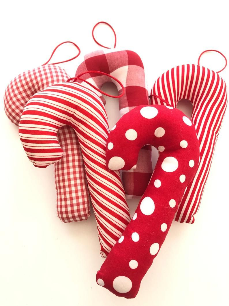 Candy Cane Ornaments / Christmas Ornaments / Set of 5 Candy Canes / Red and White Candy Cane Xmas Ornaments / Hanging Candy Cane / Handmade
