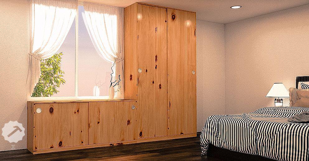 Closet con puertas corredizas en madera pino dise os for Closet con puertas corredizas