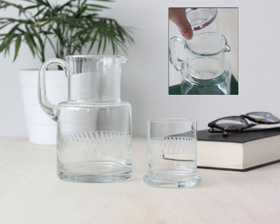 Vintage Etched Glass Pitcher With Cup Lid Pitcher And Glass Set