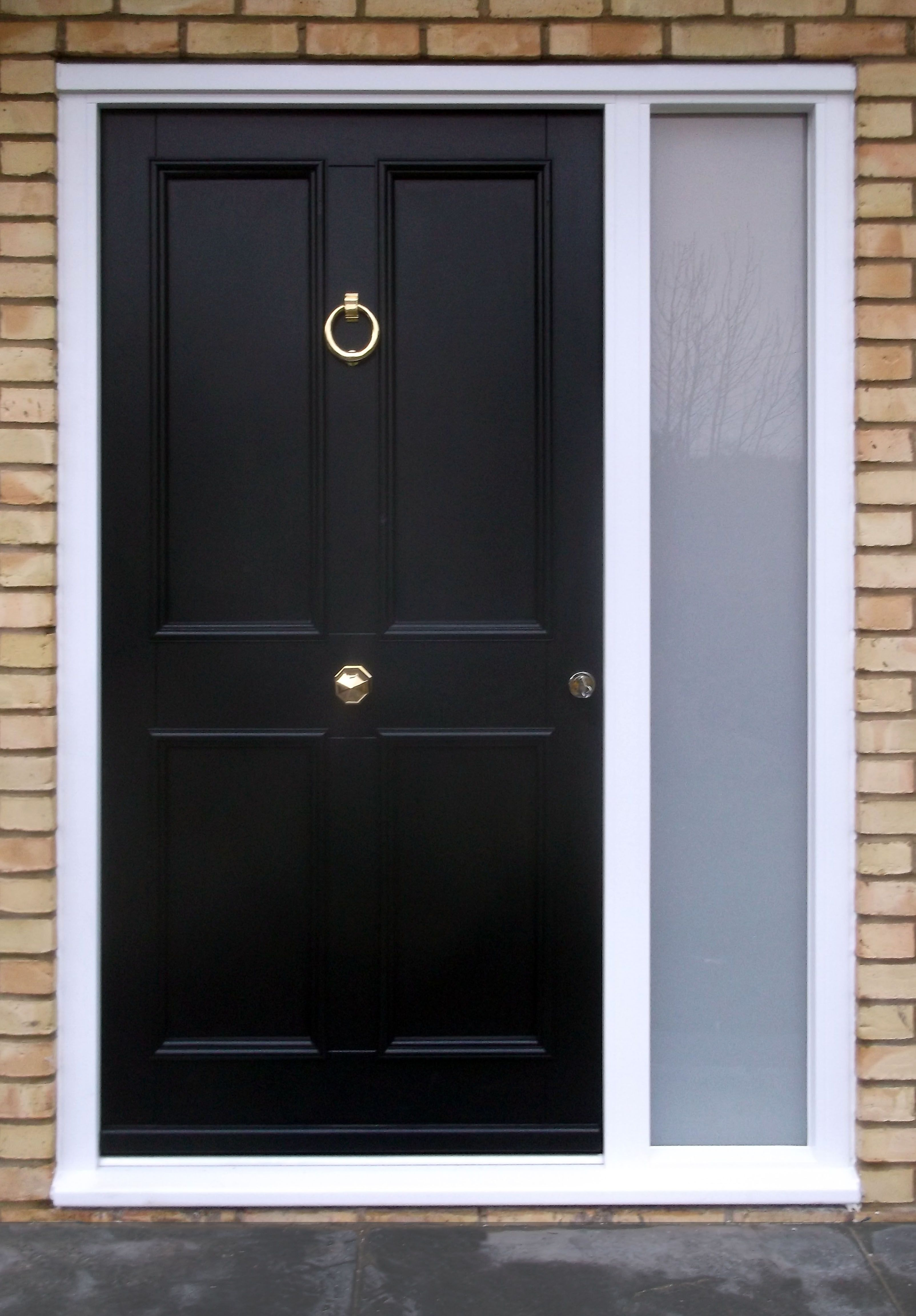 Klassic Front traditonal timber front door Kensington 1 Frame 3 painted RAL 9005 & Klassic Front traditonal timber front door Kensington 1 Frame 3 ...