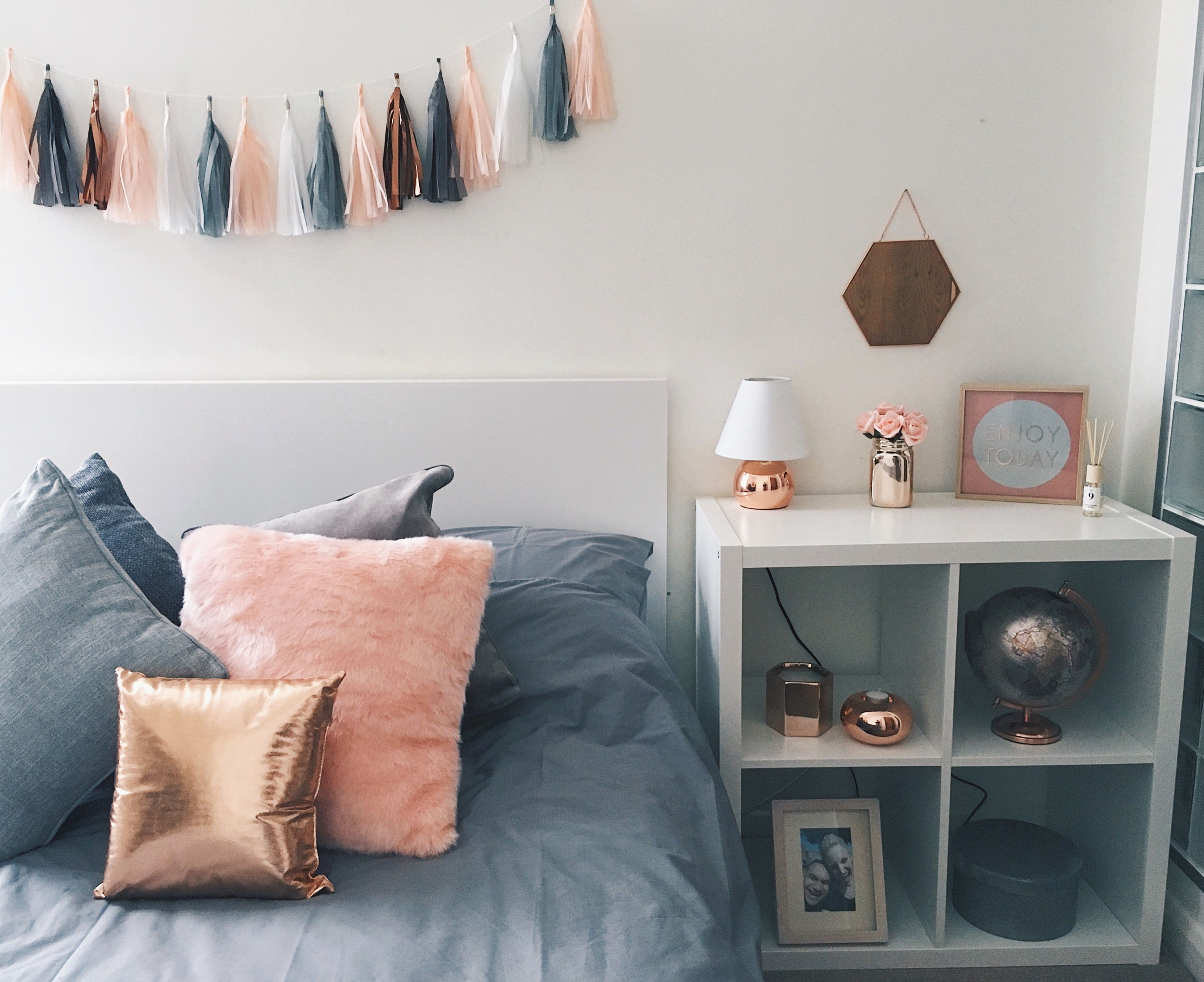 copper decor maison du monde • furniture IKEA • tassel garland