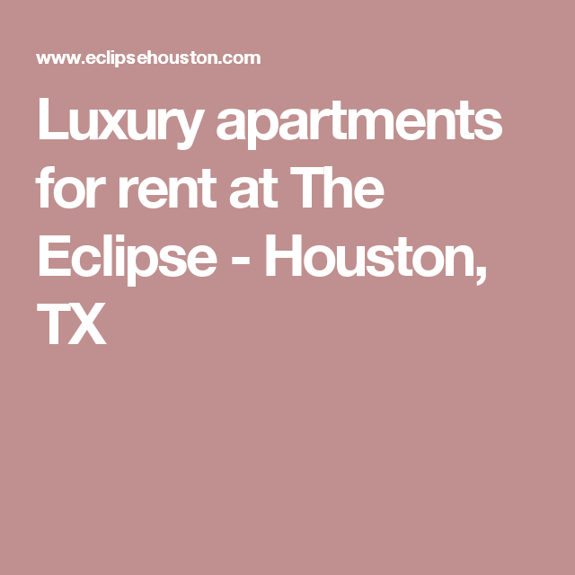 Luxury Apartments For Rent At The Eclipse