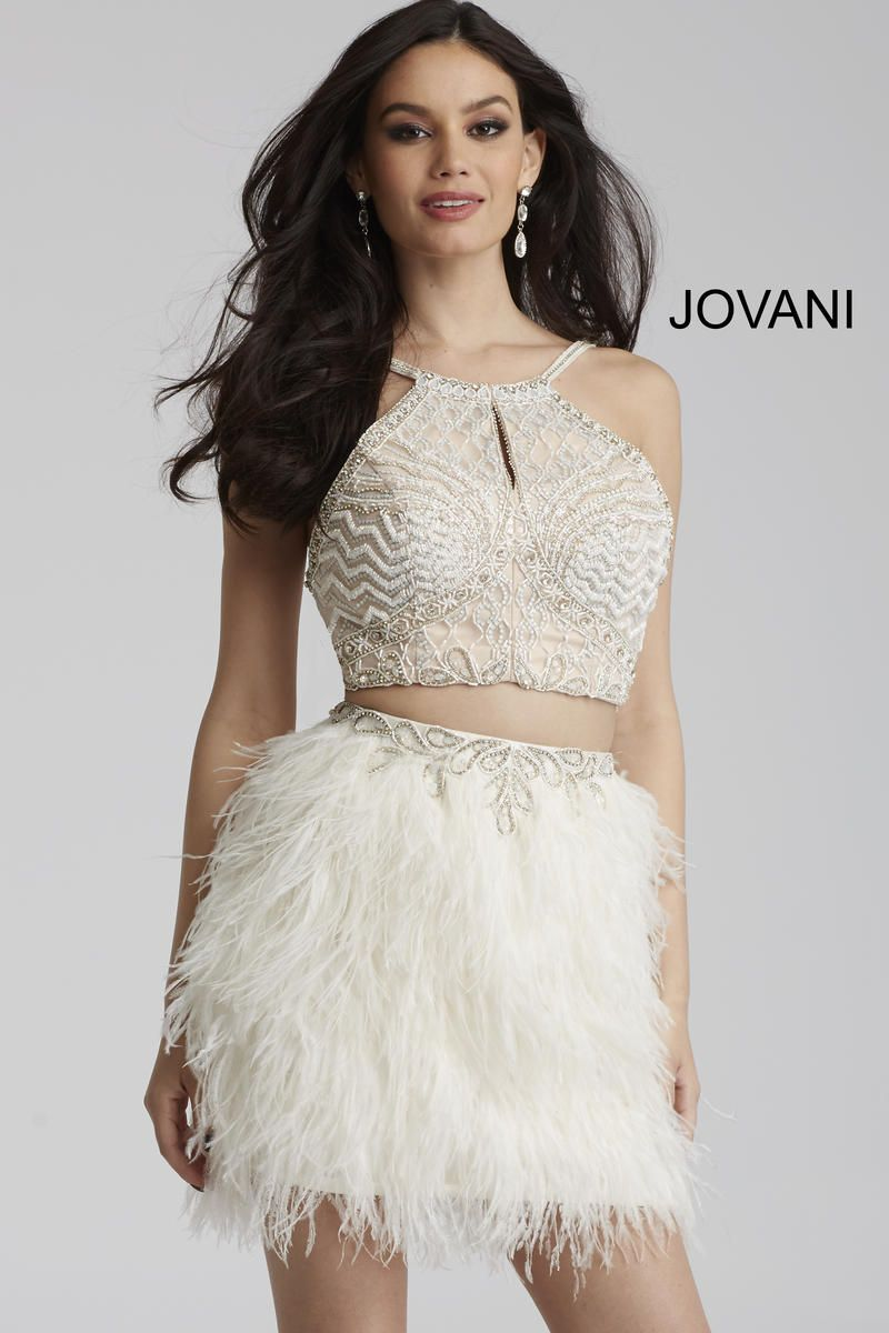 f974c045f00f Style 50119 from Jovani is a two piece cocktail dress with a fitted feather  skirt.