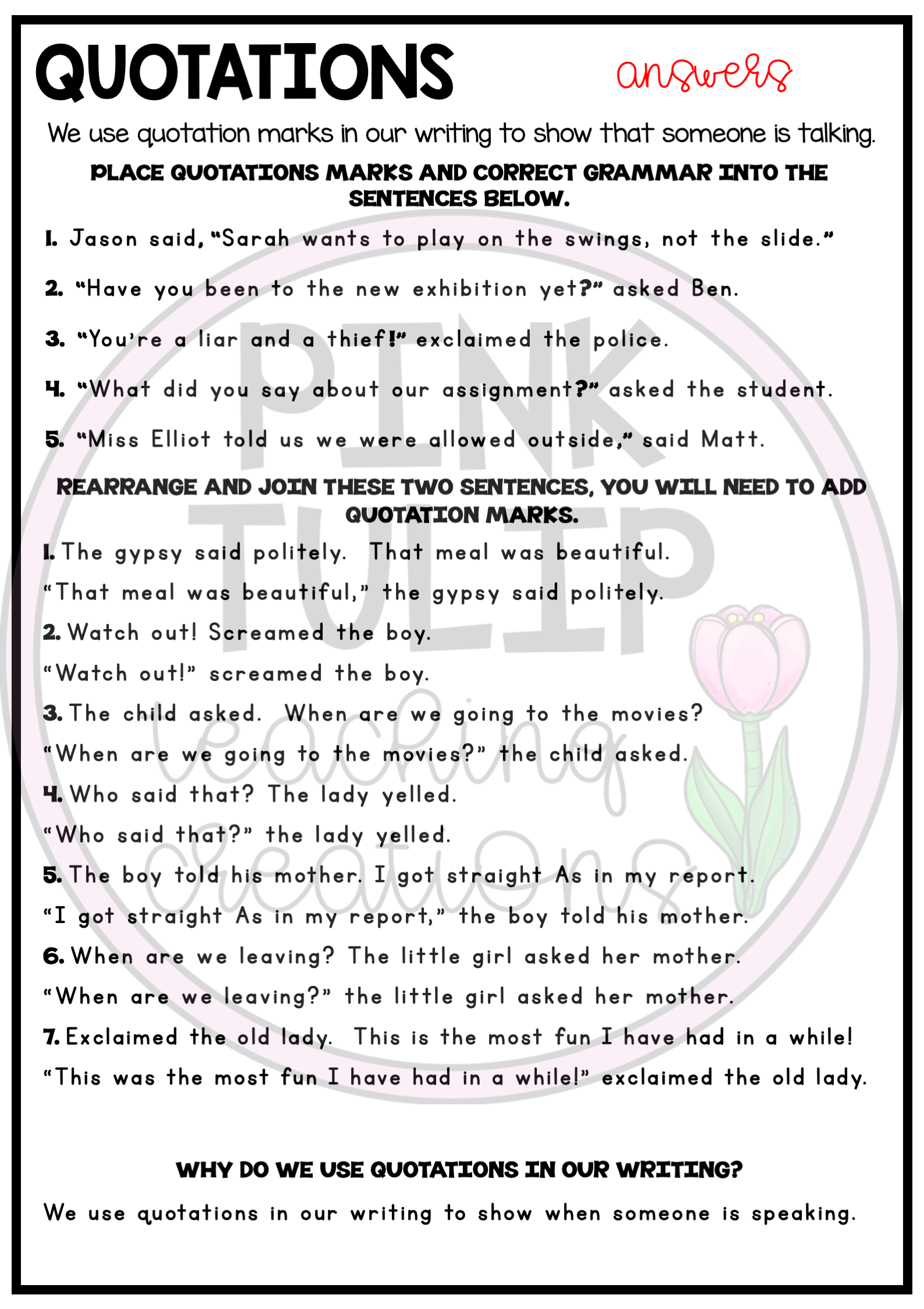Worksheets To Help Students To Identify And Use Quotations