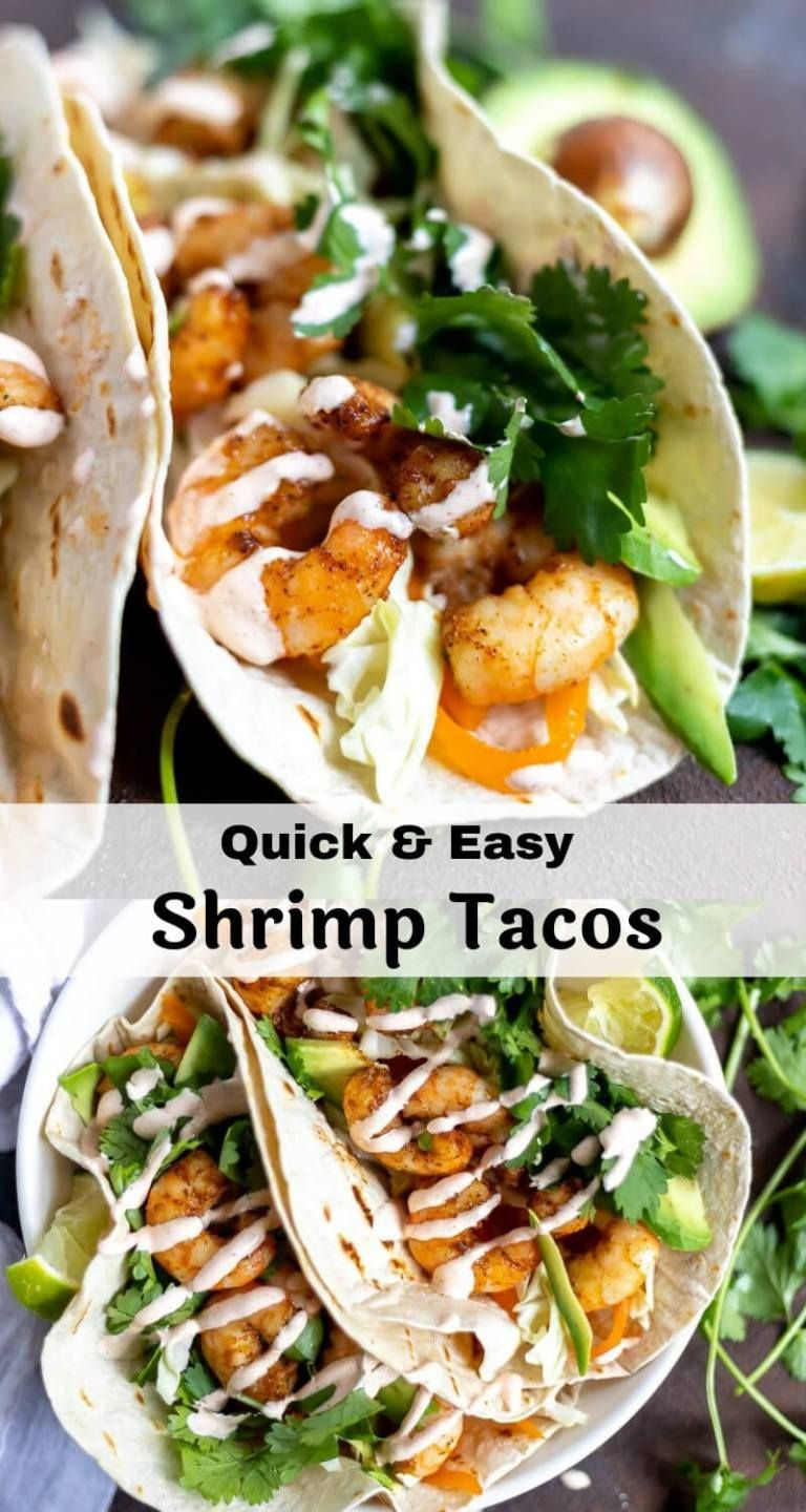 TheseEasy Shrimp Tacos are great for a quick weeknight dinner or for a fun weekend meal. Just roast the shrimp in the oven, mix up the creamy sauce and dig in! This dinner recipe will cure those Mexican food cravings. #easydinnerrecipes #tacotuesday #tacorecipes #weeknightdinnerideas #shrimptacorecipes