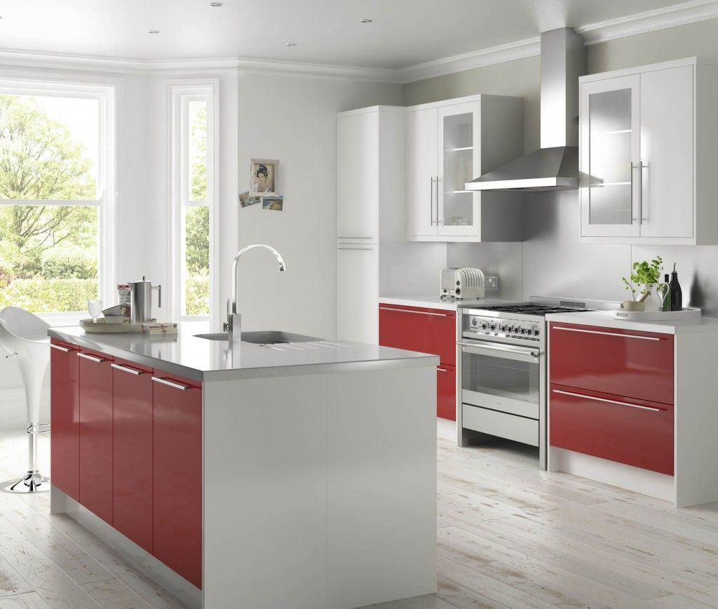 High Gloss Red And White Slab Cooke Lewis White Gloss Kitchen White Modern Kitchen Kitchen Cabinet Design