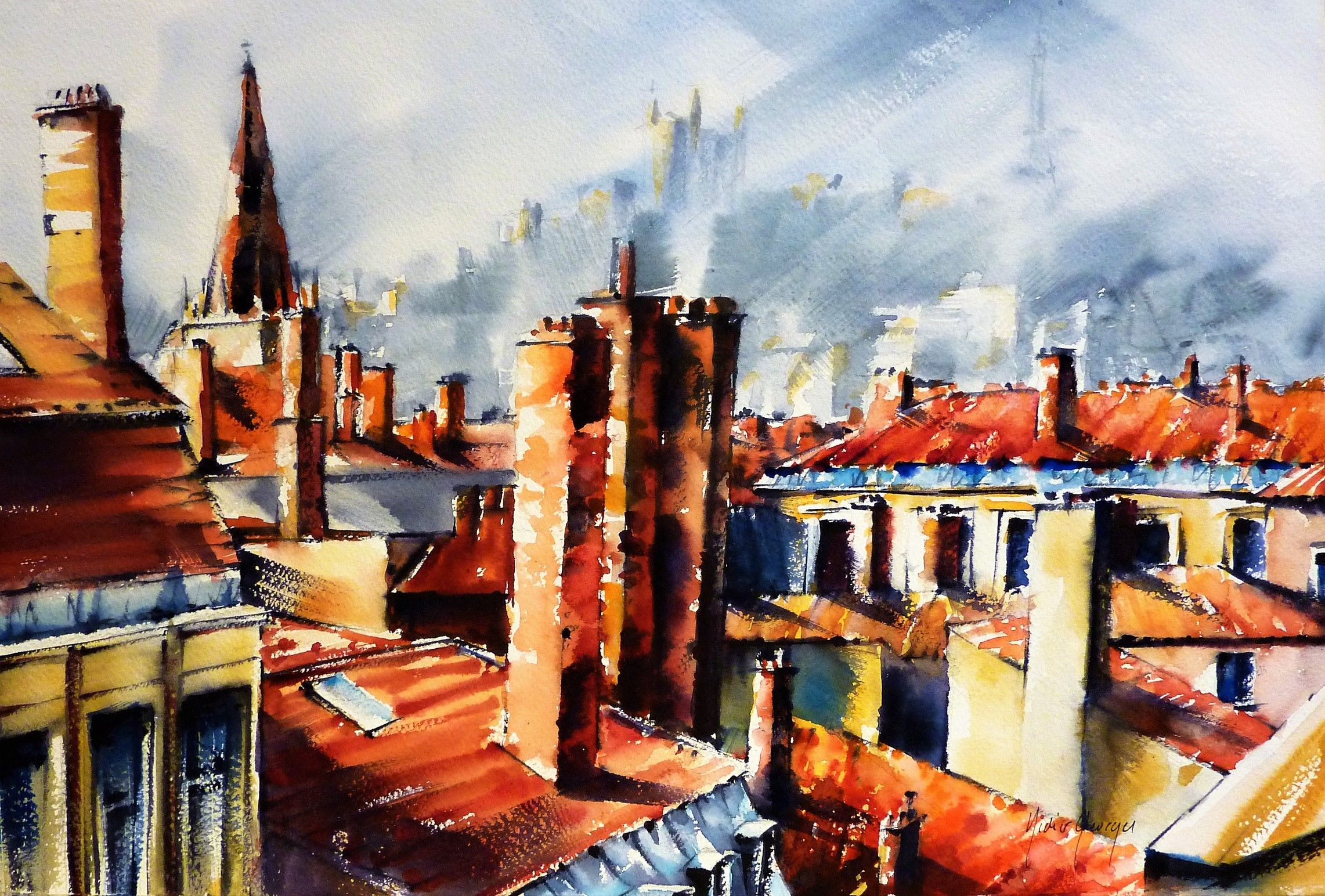 Aquarelle Lyon France Watercolor By Didier Georges Avec Images