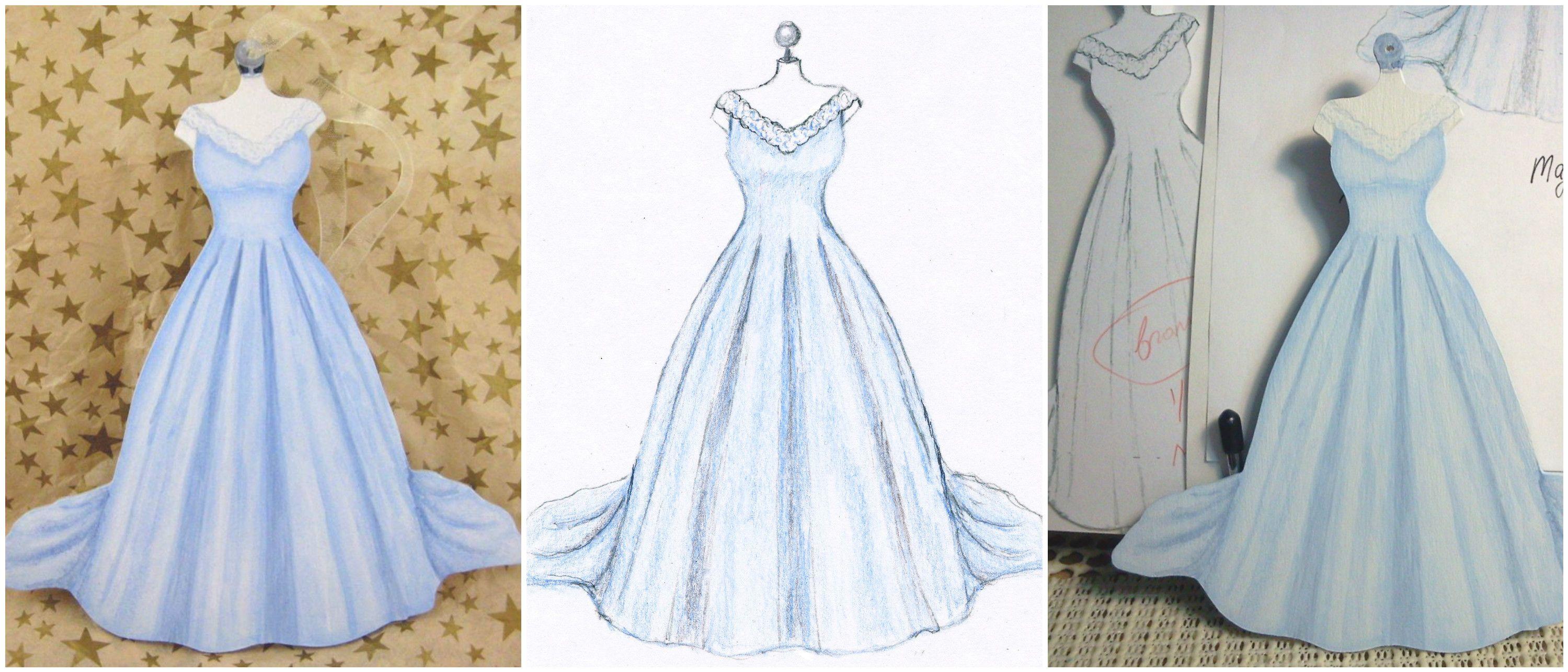 Vintage blue wedding dress keepsake ornament custom wood cutout