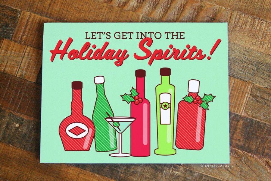 Wine Christmas Puns.Funny Alcohol Pun Christmas Card Get Into The Holiday