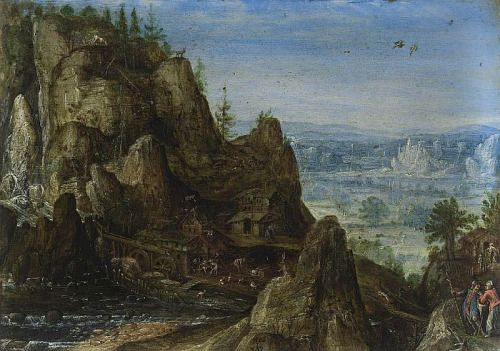 Rocky Landscape, 1586, oil on copper by Lucas van Valchenborch, Flemish, 1535-1597. Private Collection. Valchenborch was a landscape and genre artist from a family of painters. He and his brother, Martin, were the most noted. They worked in the Netherlands and in Germany despite lives disrupted by war and religious persecution.