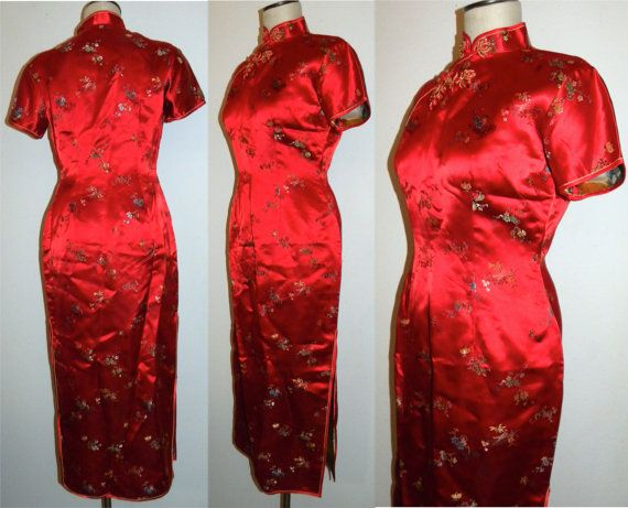 1980s Dress / 80s does 40s / Asian / Cheongsam / Red by JEWVENCHY