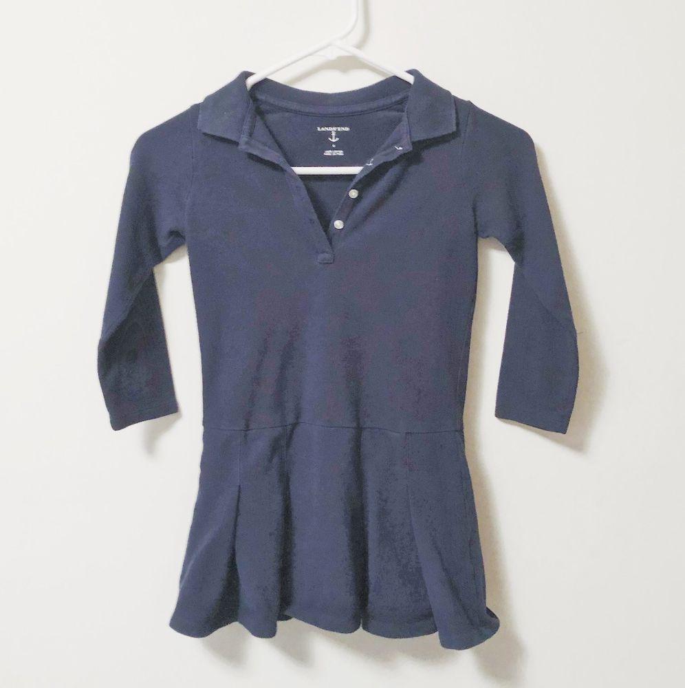 79d3dd4c Lands' End Uniform Long Sleeve Girl's Polo Dress 5 #LandsEnd #Uniform