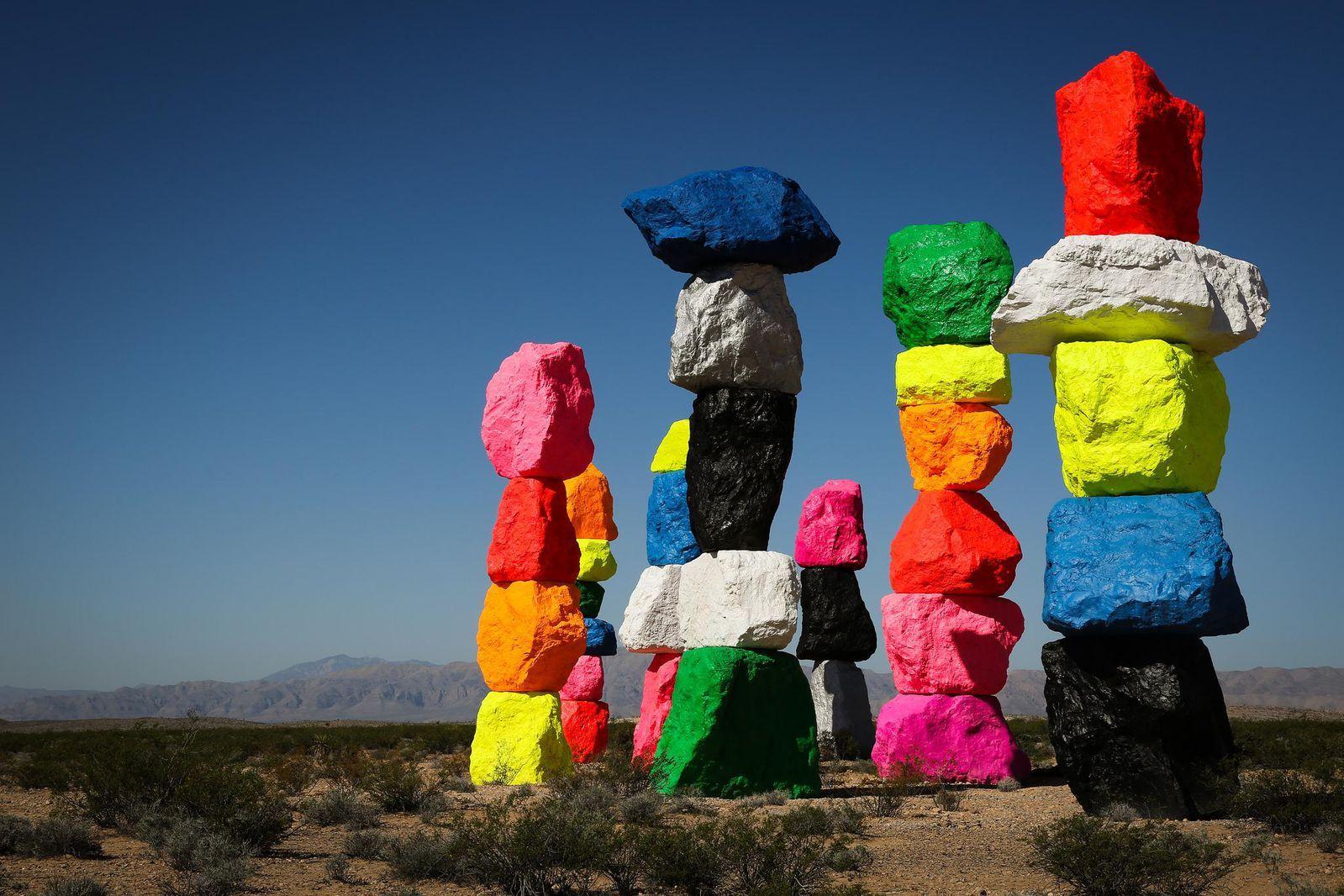 Psbattle Colorful Rocks Stacked In The Desert Seven Magic Mountains Lovers Art Desert Painting